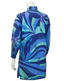 Blue Silk and Wool Printed 3/4 Length Jacket