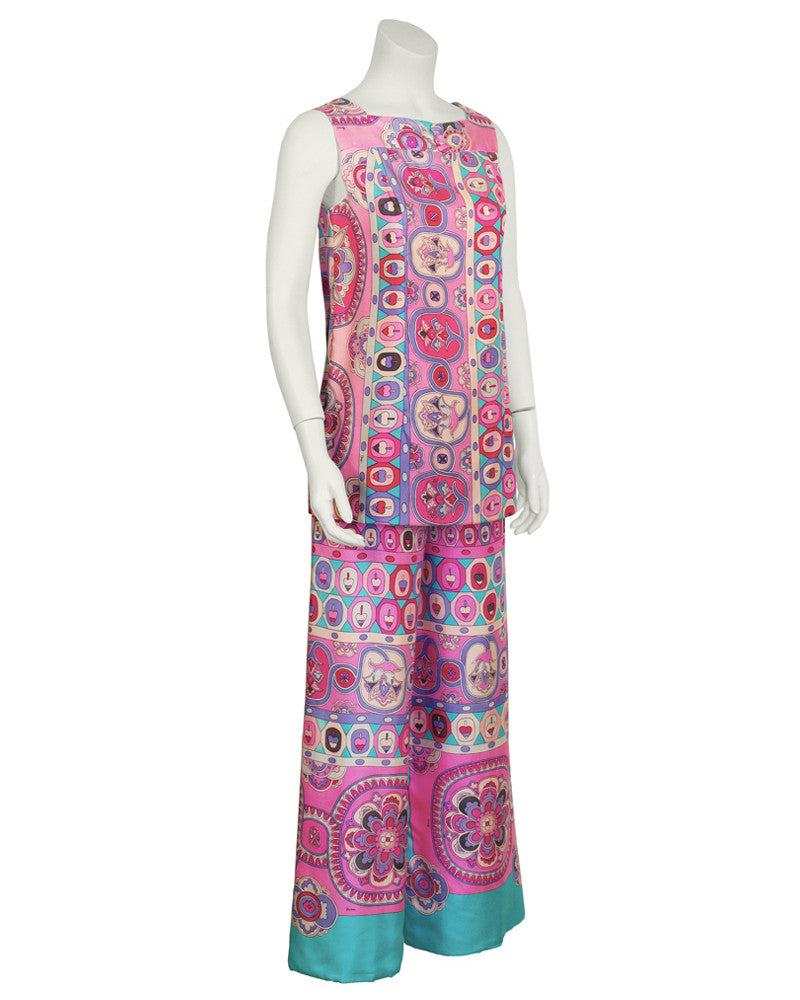 Pink and Blue Silk Tunic and Pant Set