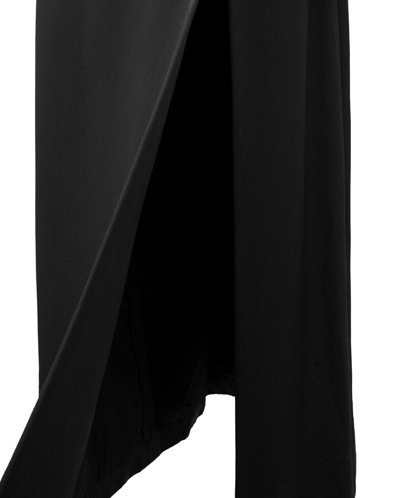 Black Silk Gown with Rhinestone Straps and Details