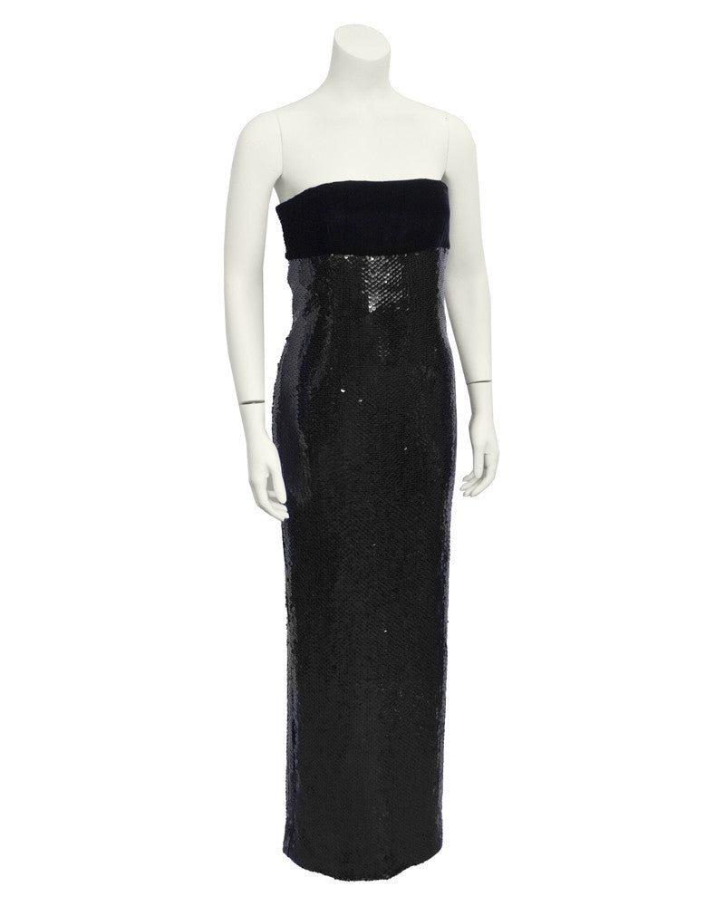 Black Sequin and Velvet Column Gown
