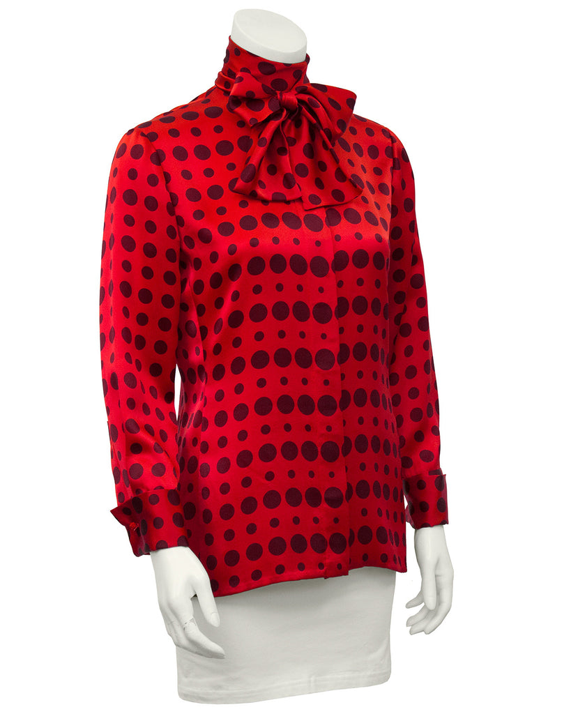 Red Silk Polka Dot Blouse