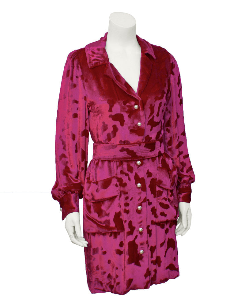 Pink Silk Velvet Shirt Dress