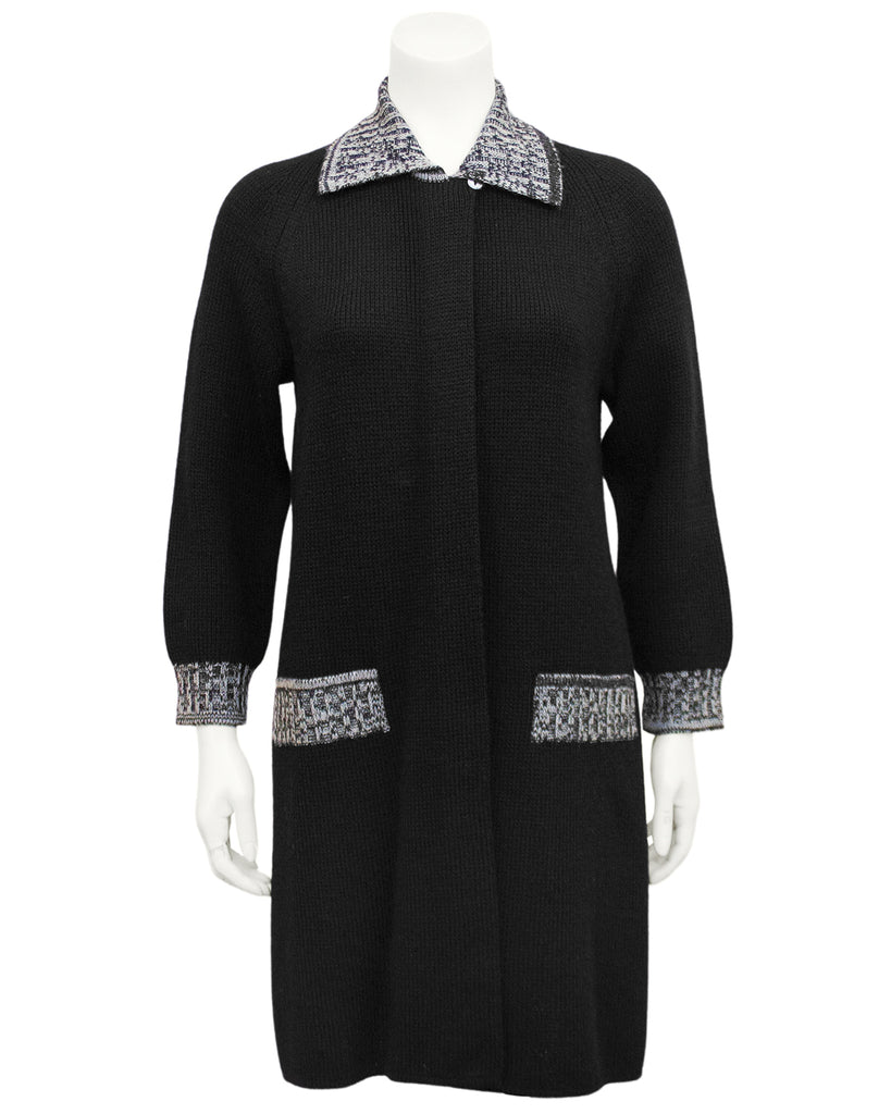 Black and White Marled Knit Jacket & Dress Ensemble