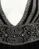 Black Wool Gown with Embellishment