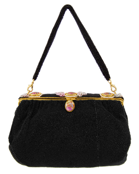 Black Beaded Evening Bag With Cameos