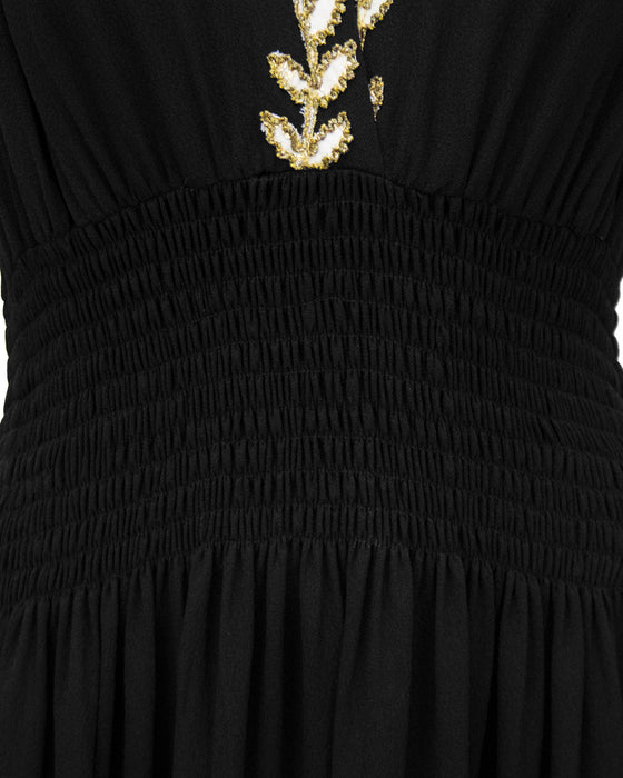 Black Moss Crepe and Gold Thread Evening Dress