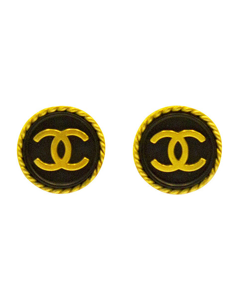 Black and gold logo button earrings