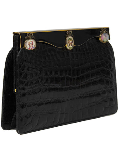 Black Crocodile Clutch with Hand Painted Enamel Cameos