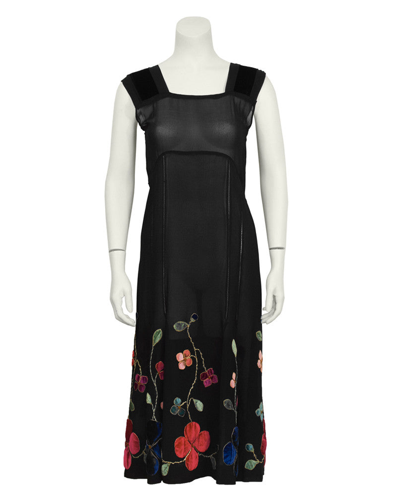 Black Velvet and Chiffon Tea Dress with Floral Embroidery