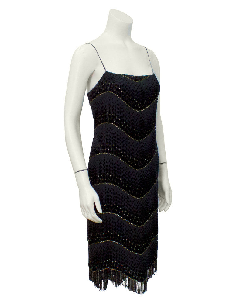 Black and Gold Shimmy Cocktail Dress