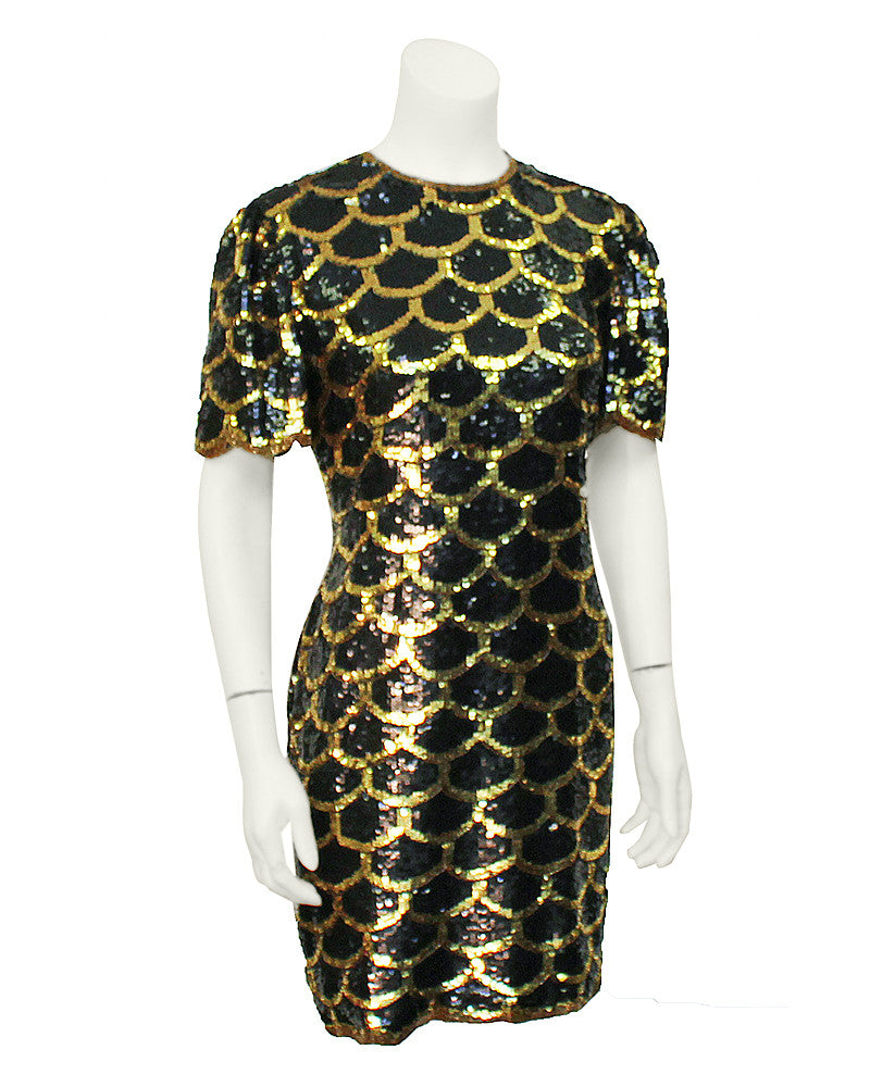 Black & gold sequin scallop dress