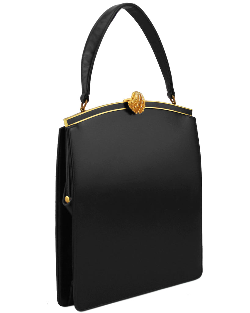 Black Leather Frame Bag with Shell Lock