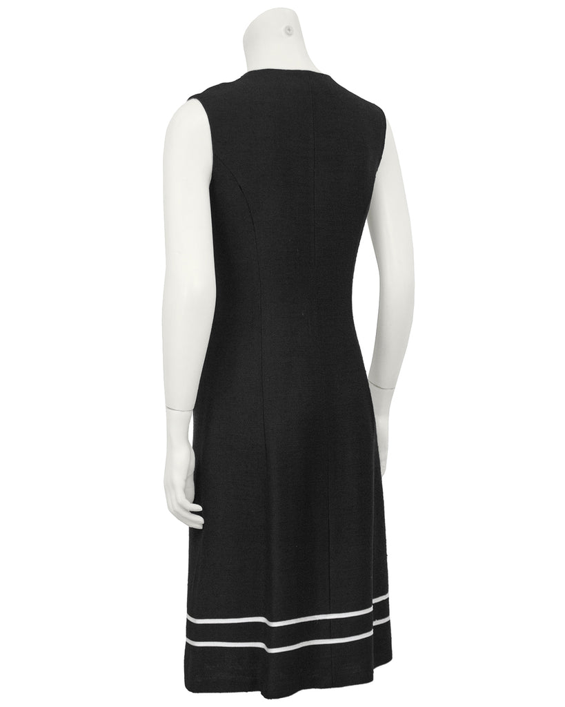 Black Day Dress with White Piping