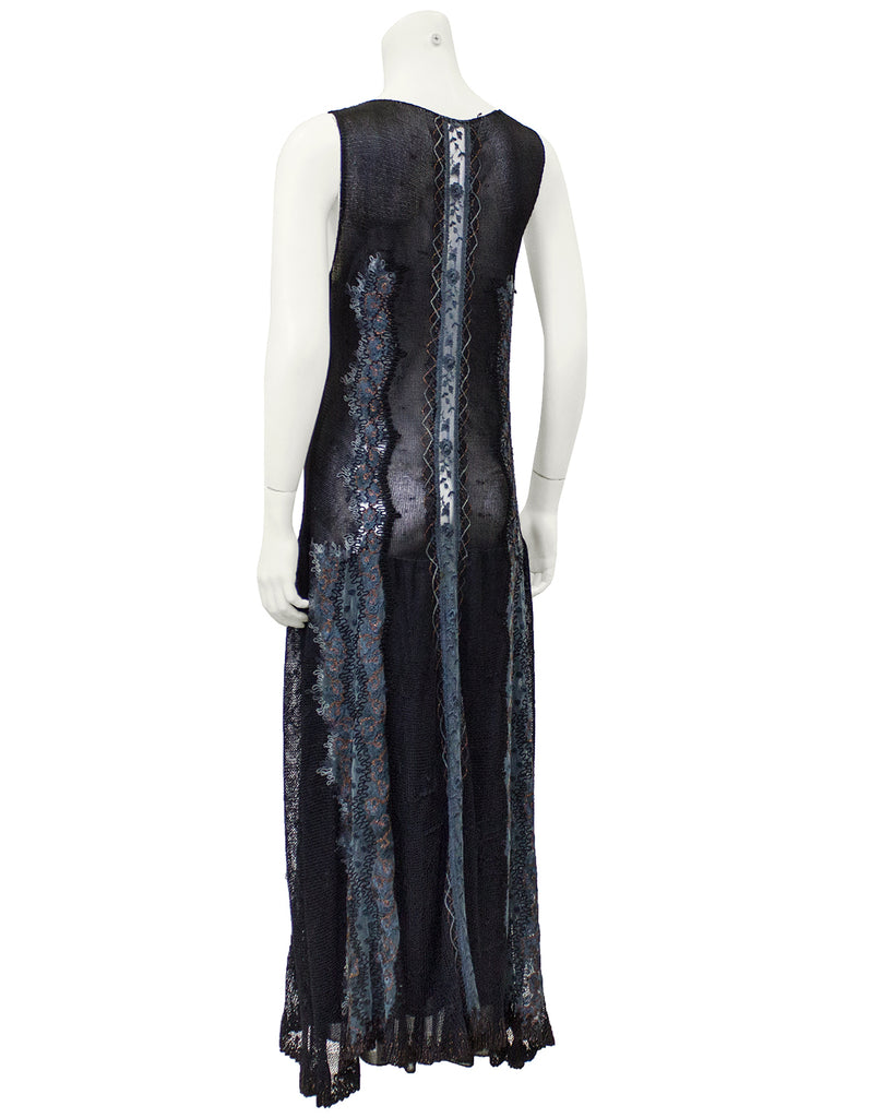 Black Knit and Embroidered Maxi Dress and Shawl