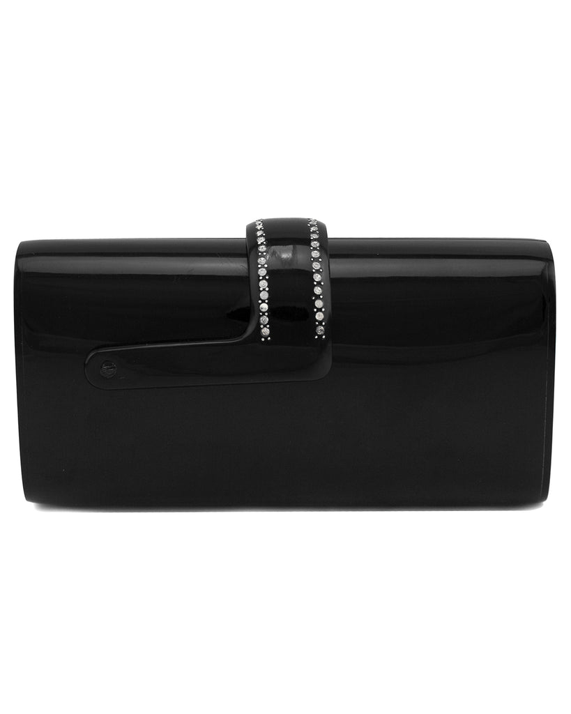 Black Resin Rhinestone Embellished Evening Clutch