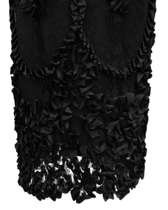 Black Strapless Cocktail Dress with Lace and Floral Applique Skirt