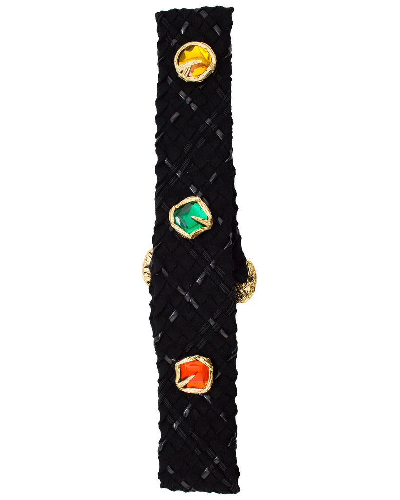 Black Weaved Belt with Large Jewels