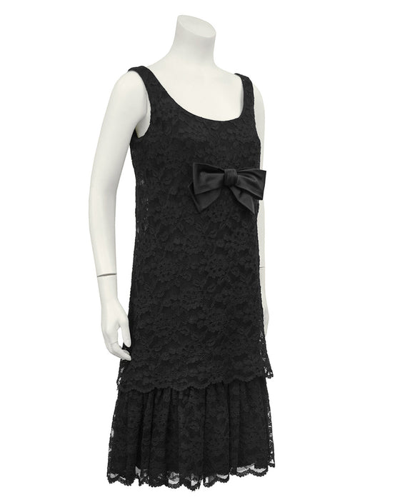 Black Lace Cocktail Dress with Bow