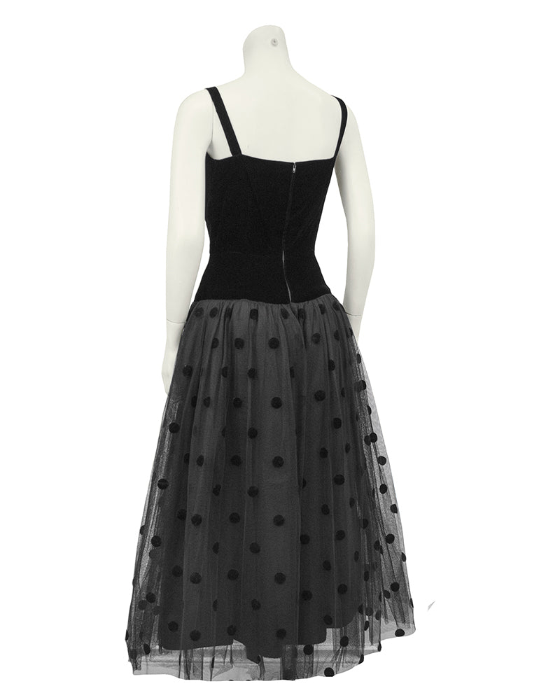 Black Velvet and Tulle Dress