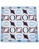 Blue and Brown Printed Silk Mini Scarf