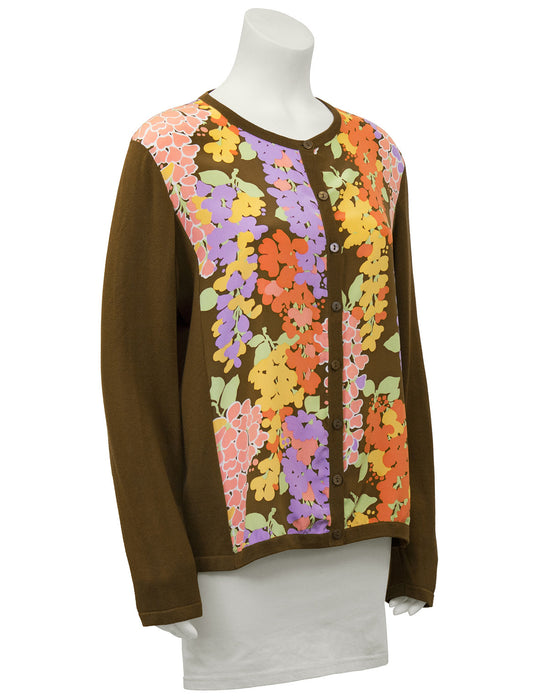 Floral Cotton and Silk Cardigan