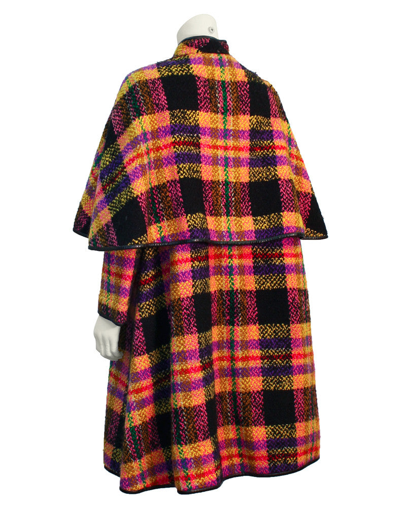 Mutli-colored plaid wool cape with leather trim