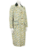 Botanical Illustrations Coat with Green Velvet
