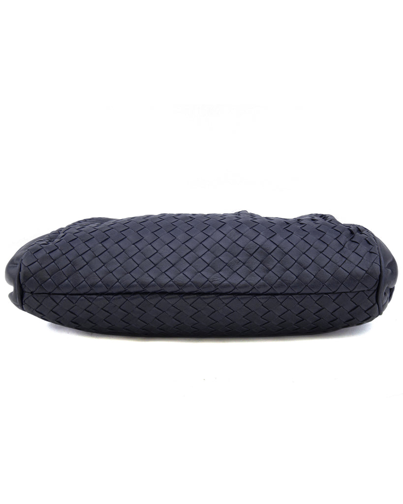 Navy Blue Intrecciato Leather Clutch