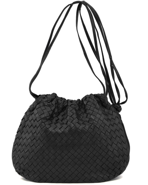 Black Intrecciato Leather Drawstring Bag