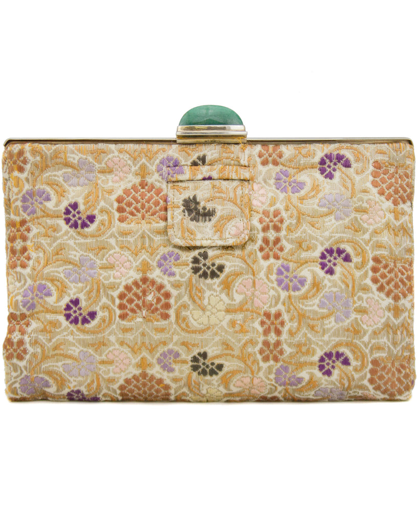 Gold Silk Brocade Evening Clutch with Jadite Clasp