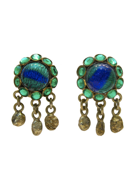 Blue Tigers Eye GIlt Bronze Earrings