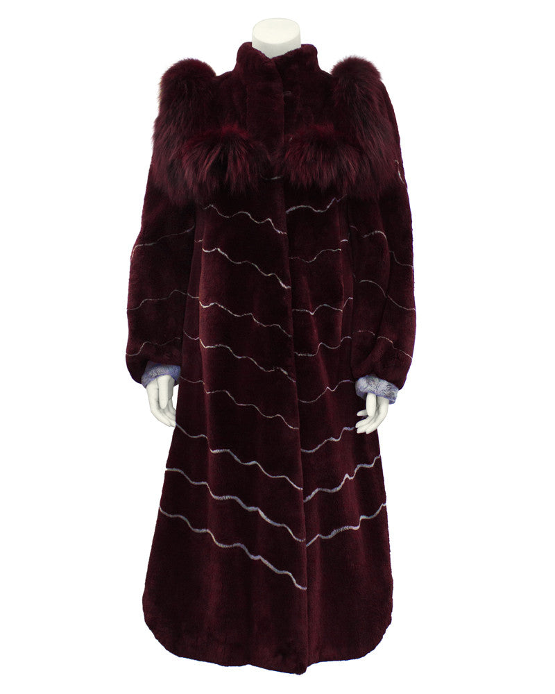 Burgundy and Grey Fur Coat