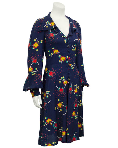 Navy Blue Printed Rayon Dress
