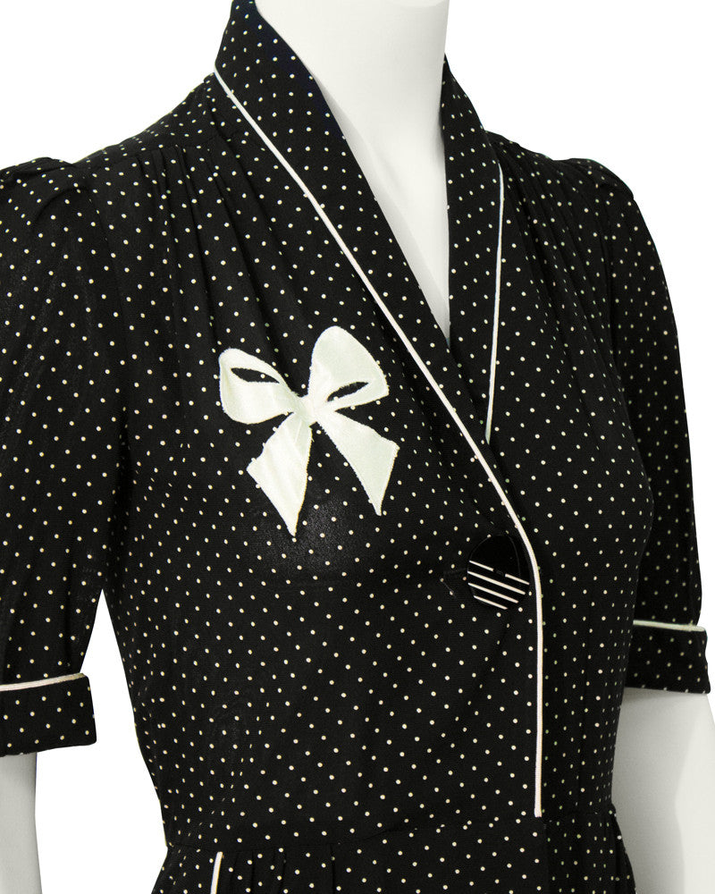 Black & White Polka Dot Shirt Dress