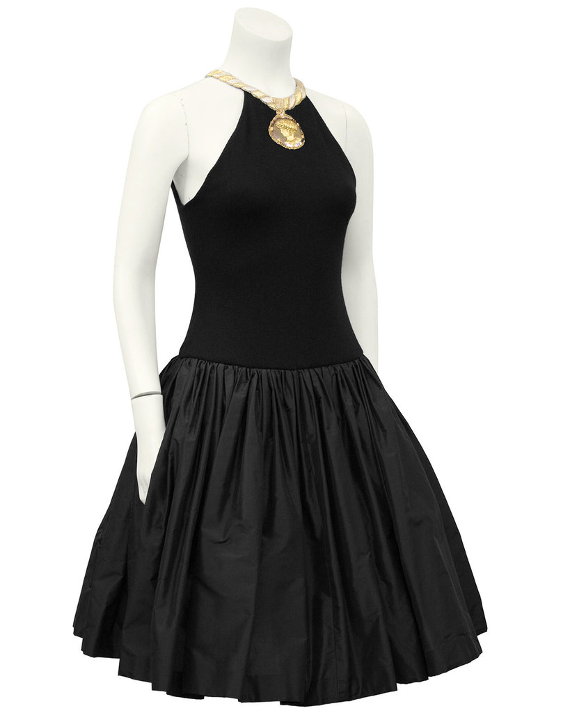 Black Cocktail Dress with Gold Roman Details
