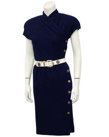 Navy Blue Wool Dress with Belt