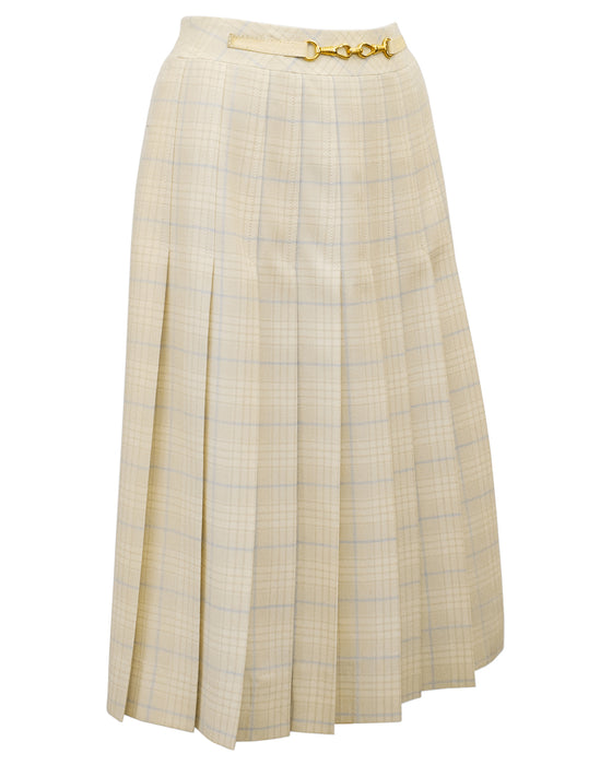 Cream and Blue Tartan Pleated Skirt