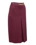 Maroon Wool Gabardine Pleated Skirt