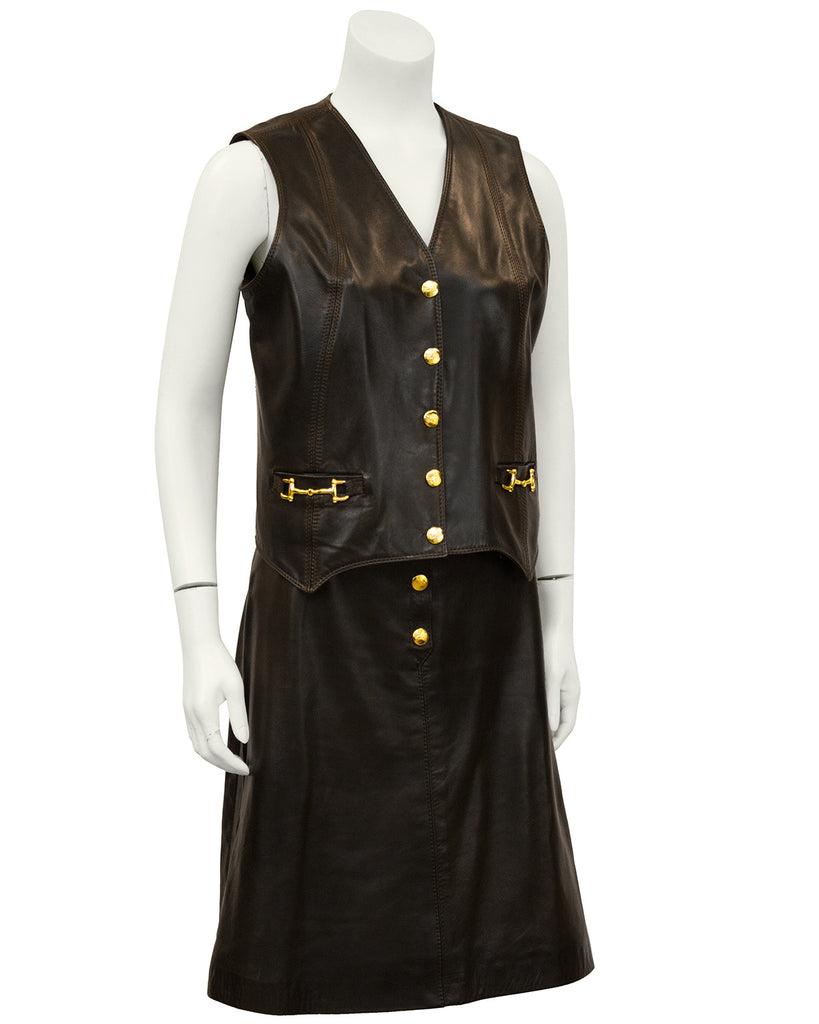 Brown Leather Vest & Skirt Ensemble