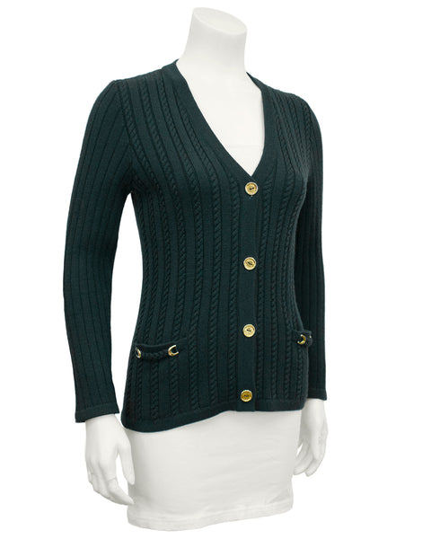 Green Cable Knit Cardigan