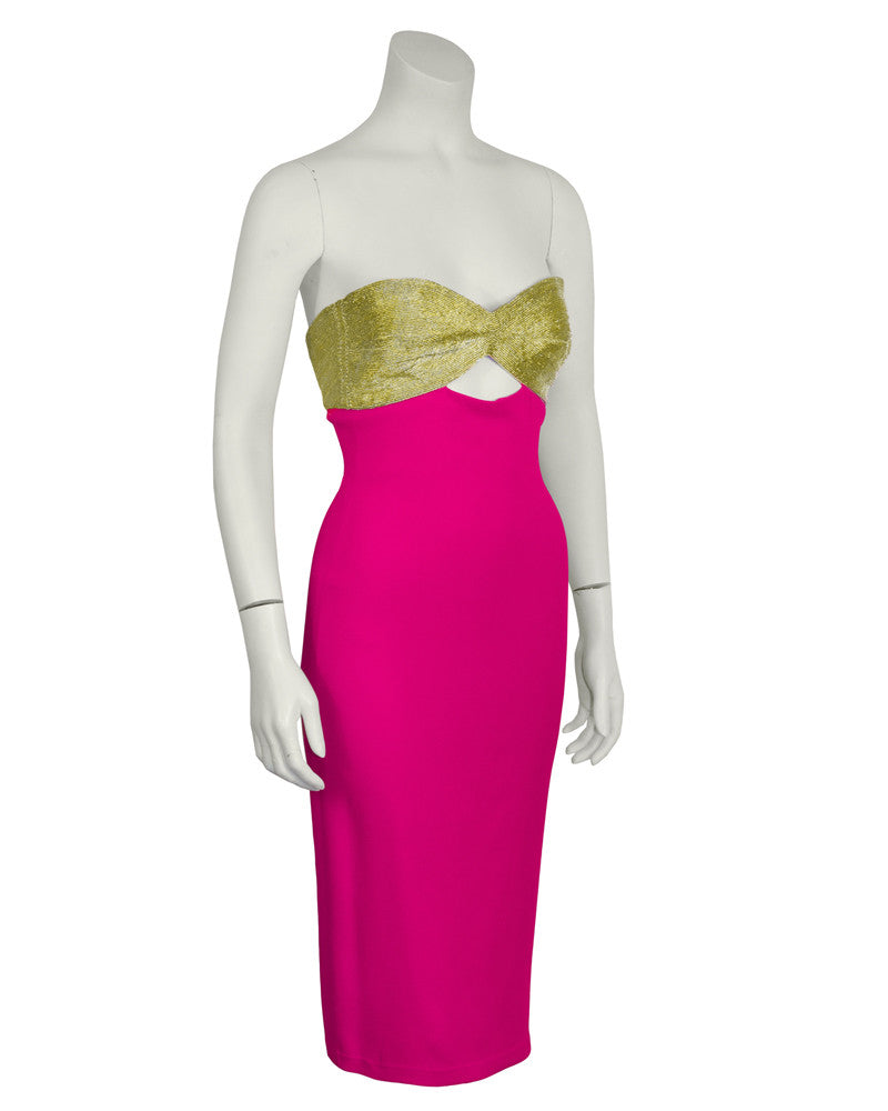 Gold and Pink Strapless Cocktail Dress