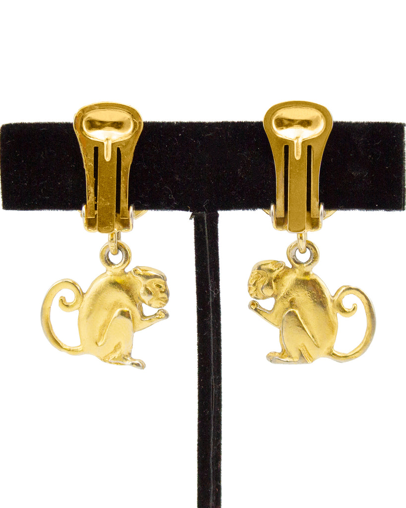 Gilt Metal Monkey Earrings