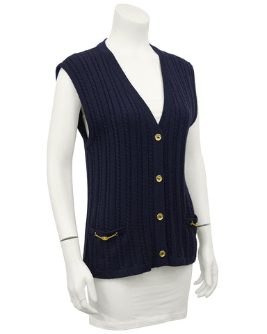 Navy Blue Cable Knit Vest