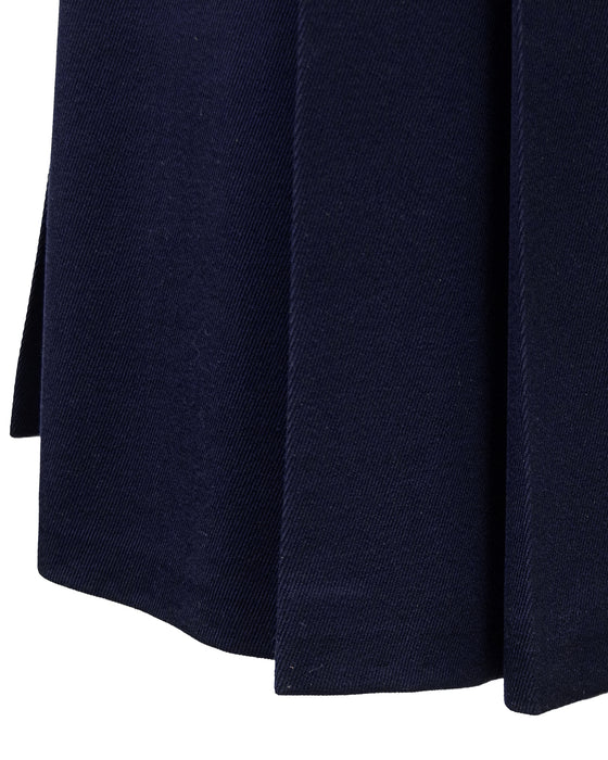 Navy Wool Gabardine Pleated Skirt