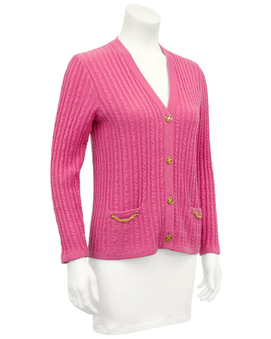 Pink Wool Cable Knit Cardigan