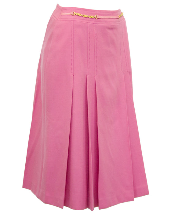 Pink Pleated Wool Skirt