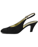 Black Satin Slingbacks Sz 40