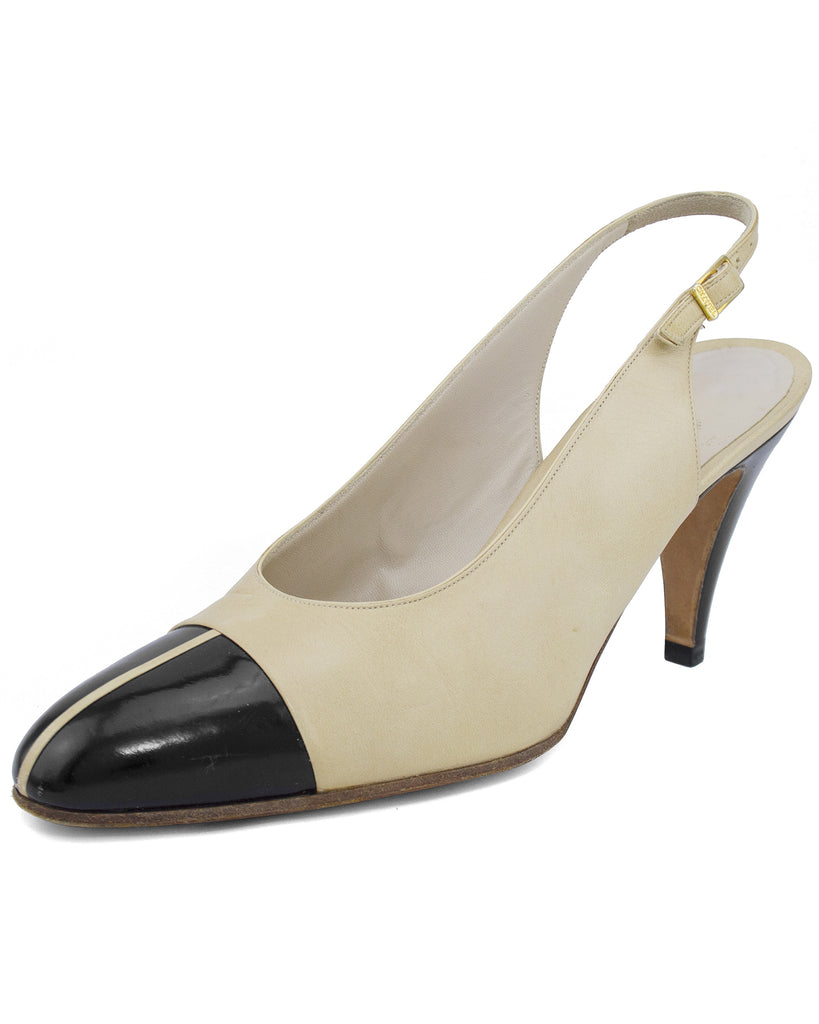 Beige and Black Slingbacks