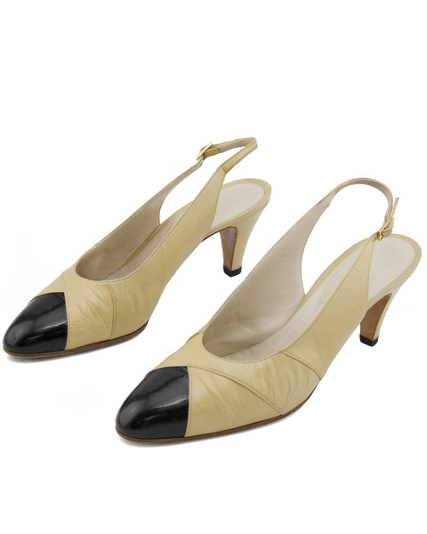 Beige Leather Sling Back Heels with Black Patent Leather Cap Toe