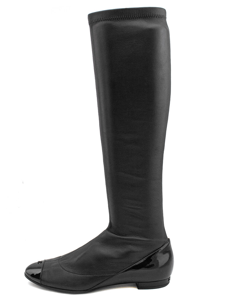 Black Stretch Leather Boots with Patent Details